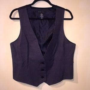 Grey and black plaid vest
